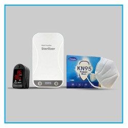 3 Combo Pack, KN95 FFP2 Face Mask 1 Box, 1Pcs Pulse Oximeter & 1 Pcs UV Light Sterlizer Box